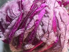 YARN LOT: Lana Grossa Favola 8 Skeins 400 Grams Total Pink Novelty Ribbon Wool