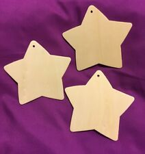 3 x 3mm MDF STARS. 12cm. BLANK. PERSONALISE YOUR OWN. CHRISTMAS. Pre-Drilled.