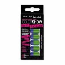 ** MAYBELLINE COLORAMA NAIL FALSIES 08 SIDE SQUARED BLUE & GREEN NEW FALSE NAILS