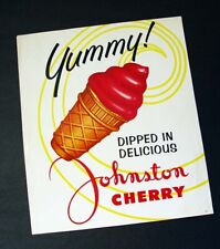 """VINTAGE """"YUMMY"""" JOHNSTON CHERRY DIPPED ICE CREAM CONE ADVERTISING SIGN"""