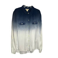 Lucky Brand Women's Blue Ombre Button Up Long Sleeve Blouse Top Size Large