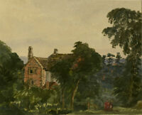 Early 20th Century Watercolour - View of a House Through the Trees