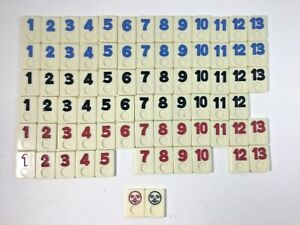 """Rummikub Game Replacement Tiles Lot of 77 Size 1 1/8"""" Wide x 1 1/2"""" Tall"""