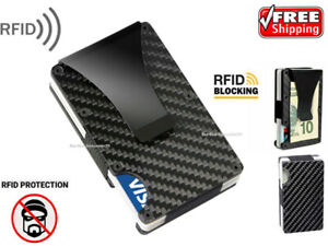 RFID Blocking Credit Card Holder Men Slim Carbon Fiber Metal Money clip Wallet