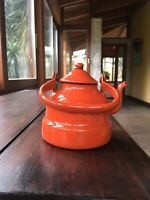 Enamelware Graniteware Antique Gooseneck Teapot  Red With Chained Lid Yugoslavia