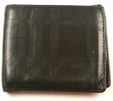 Great $480!!! Burberry wallet leather embossed check Black ID 100% AUTHENTIC!