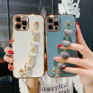 Silicone Case For iPhone 13 Pro Max 12 11 XR XS 8 Heart Hand Chain Plating Cover