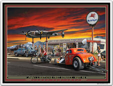 Hot Rod Art Print by Larry Grossman LEFTYS LIGHTNING FAST SERVICE
