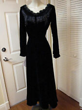 NEW ELEGANT J. PETERMAN DRAMATIC BEADED FIT FLARE BLACK VELVET LONG DRESS GOWN 4