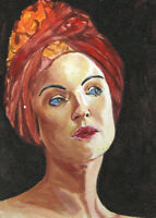 """ACEO Original Painting Collectible Art Card """"Woman in a Turban"""""""