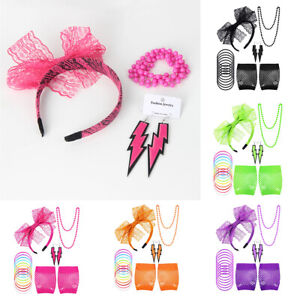 80s Accessories Fishnet Gloves Earrings Headband Bracelet Hen Party Fancy Dress