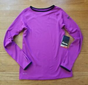 NEW Nike Pro Dri-Fit Warm * L 14 *  purple long sleeve base layer shirt top NWT
