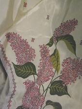 Vintage 60s Silk Scarf Lilacs Oblong Vgc 11x50 Japan