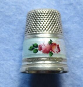 Vintage HG&S 925 Silver and Enamel Roses Thimble