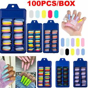 100Pcs Long Ballerina Fake Nails Candy Colors Natural Coffin Press on False Nail