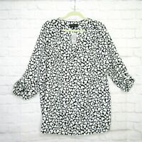 Lane Bryant Popover Tunic Blouse Black White Heart Design Plus Size 18/20 V Neck
