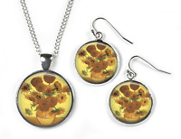 SUNFLOWERS Vincent Van Gogh - Set: Pendant, Chain & Earrings - Picture Jewellery