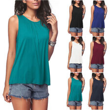 Women Casual Round Neck Stretch Solid Tunic Sleeveless Loose T-shirt Tank Tops