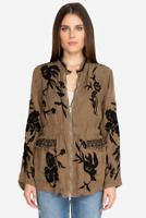 Johnny Was Khaki Crawford Cupra Jacket M Brown Zip Front Boho Embroidered NWT