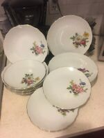 Set of 6 White With Flower Bavaria Dinner Plates, Soup Bowls And Desserts Plates