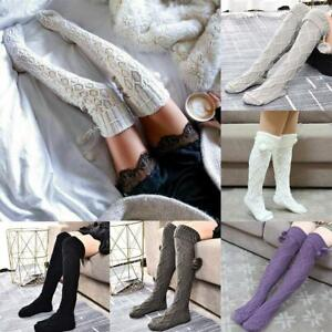 Winter Over Knee Socken Sexy Warm Thins High Strick Strümpfe für Damen Frauen