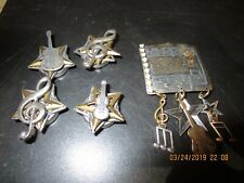Set Of 5 Unusual Metal Vintage Button Covers-Musical Instruments-#G25