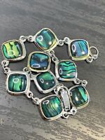 Vintage Ladies Silver Tone Abalone Paua Shell  Panel Beach Lover Bracelet  7.5""