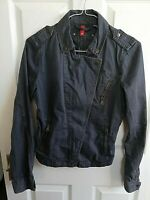 H&M WOMENS GREY 100% COTTON JACKET SIZE 8 PIT TO PIT 16 LENGTH 24 INCH POCKETS