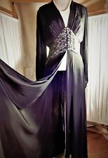 Amazing Vintage Great Gatsby 1930's Black Garbo Silk Lace Dressing Robe S/M
