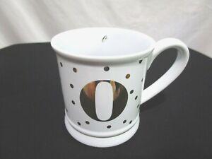 "NWOT Pier 1 Imports White & Gold Polka Dot ""O"" Monogram 14 oz Coffee Mug Cup"