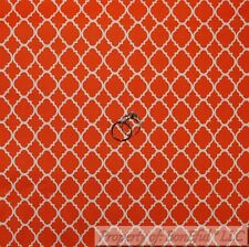 BonEful FABRIC FQ Cotton Quilt Orange White Bright Damask Pattern Print Diamond
