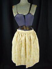 """Vtg 50-60s Mustard Yellow/White Printed Cotton Skirt-Waist 25"""""""