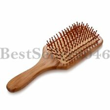 Large Natural Bamboo Massage Head Scalp Straight Curly Detangling Hair Brush