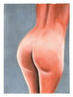 """NUDE WOMAN BACK"" Original Soft Pastel Sketch Female Drawing Naked Girl Art"