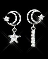 Ohrstecker Ohrring Mond mit Stern Kometenschweif Zirkonia 925 Sterling Silber