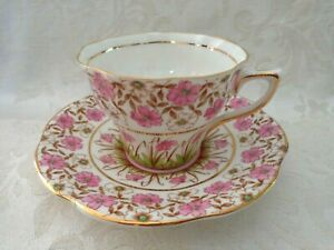 Vintage Rosina Tea Cup & Saucer White with Pink Floral Chintz Pattern  England