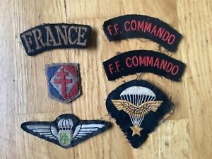 Collection of x6 free french commando & airborne unit patches ww2