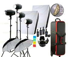 1400W Studio Strobe Flash Light Kit & Wheels Carrying Case