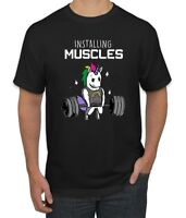 d6f951db Wild Bobby Installing Muscles | Unicorn Rainbow | Mens Gym / Workout T-Shirt