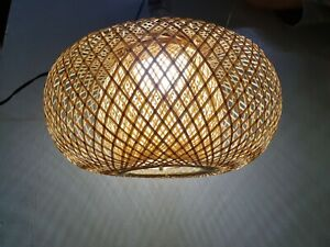 Pumkin Bamboo Hanging Lamp Pendant Light Asian Oblong Repurposed Fish Trap