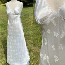 Vtg Negligee Nightgown White Papillon Neiman Marcus Satin Butterfly Pristine S M