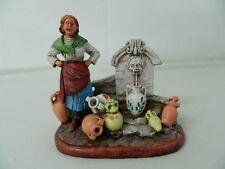 Statua ceramica Acquaiola con vasellame Scuola Caltagirone Lavorato a mano OMA19