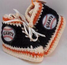 Handmade Crochet San Francisco Giants Baseball Black High Tops Baby Booties