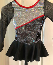 New ice figure skating dress costume twirler/dance/roller tot size 4 black/red
