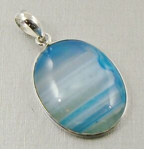 Semi-Precious BLUE BANDED AGATE Gemstone 925 Sterling Silver Pendant - A92