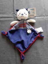 Neuf! doudou plat ours MOTS D'ENFANTS la super équipe bleu marine blanc & rouge