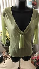 Women's Express top With Knot Tie neckline 3/4 sleeve Blouse, lime Size M
