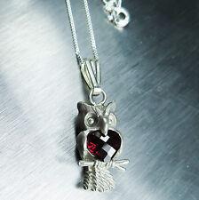 1.90cts Natural almandine garnet 925 Silver owl pendant necklace