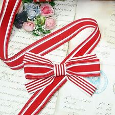 "1y 7/8"" French Red White Stripe Grosgrain Ribbon Trim Candy Cane Jacquard Vtg"