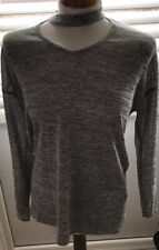 Papaya Grey Neck Front Design Grey Top Size 8
